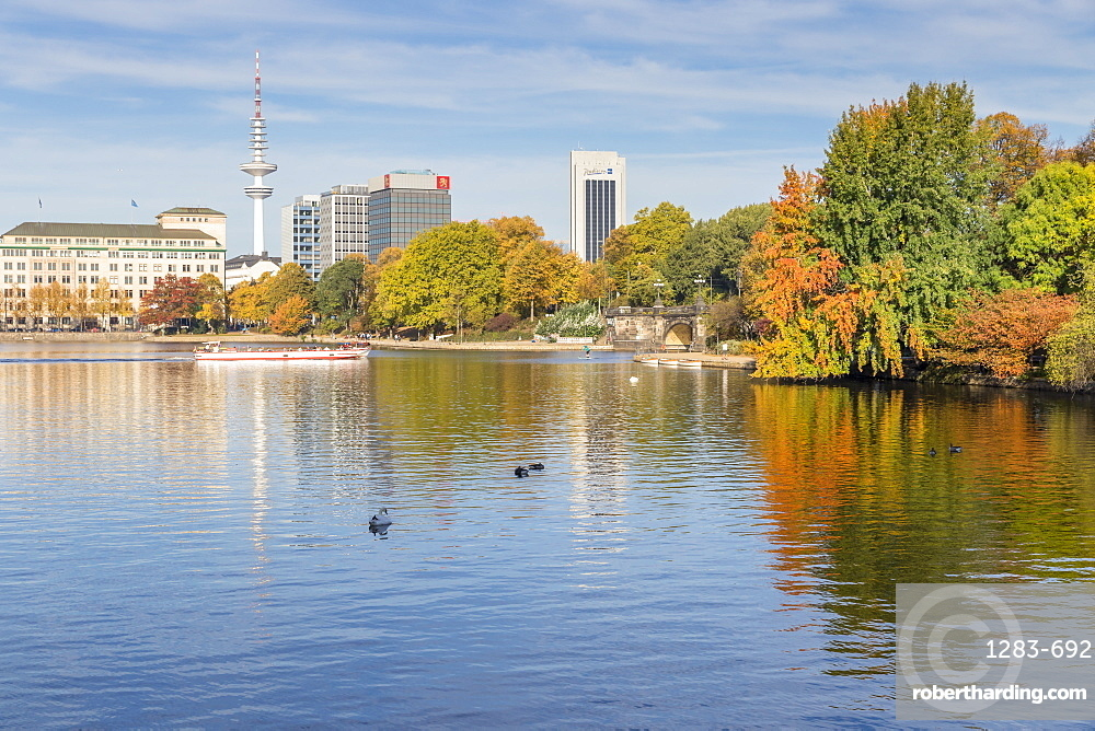 The Inner Alster (Binnenalster) with view to the Fernsehturm (Television tower) during autumn, Hamburg, Germany, Europe