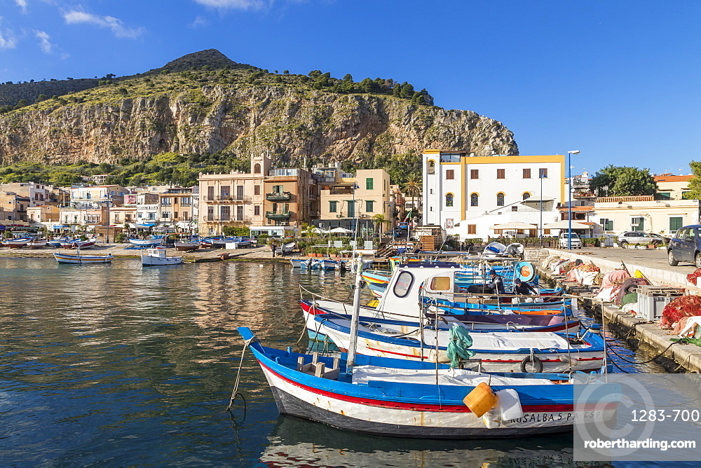 Colorful boats anchoring at the port of Mondello with view to Mount Gallo in the background, Palermo, Sicily, Italy, Europe