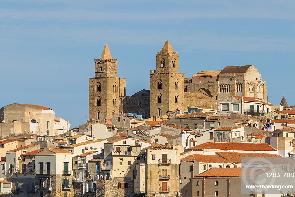 The cathedral of Cefalu above the old town, Cefalu, Sicily, Italy, Europe