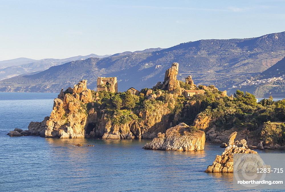 The ancient Caldura watch tower near Cefalu, Sicily, Italy, Europe