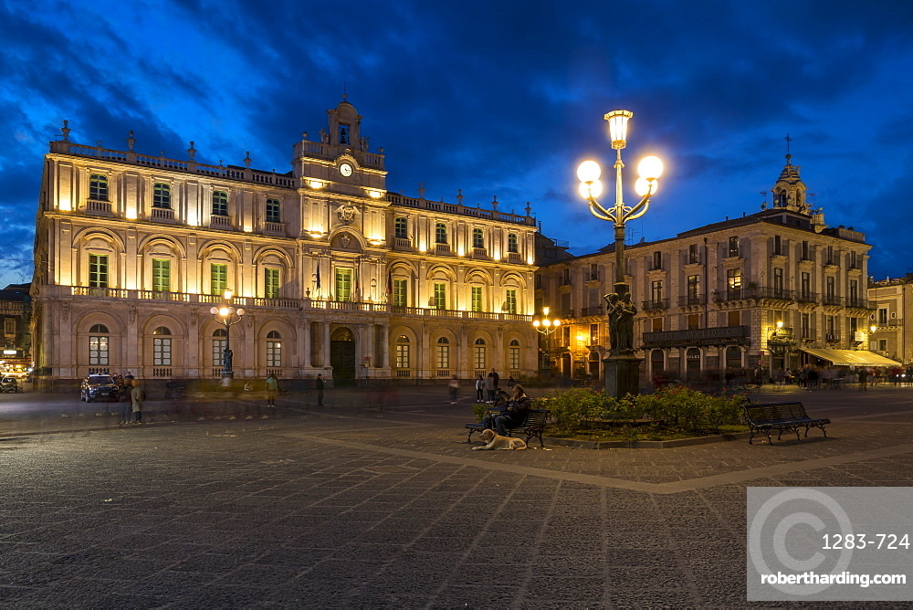The illuminated University of Catania at University Square during blue hour, Catania, Sicily, Italy, Europe