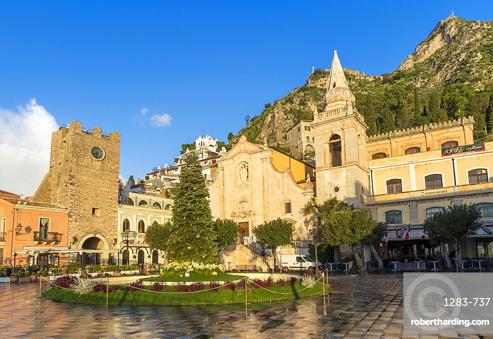San Guiseppe church and the clock tower gate at Piazza IX Aprile, Taormina, Sicily, Italy, Europe
