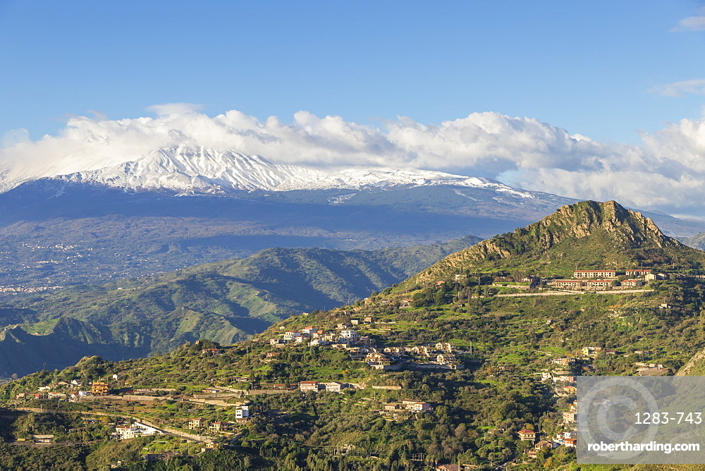 View from Madonna della Rocca church to Mount Etna, Taormina, Sicily, Italy, Europe