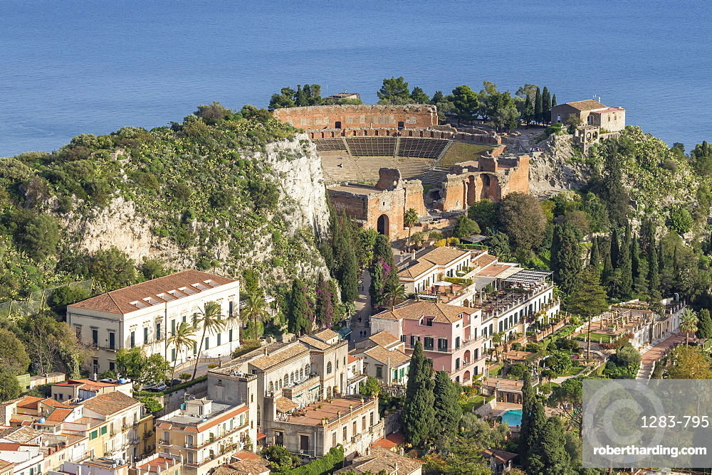 View over Taormina and the ancient Greek Theatre, Taormina, Sicily, Italy, Europe