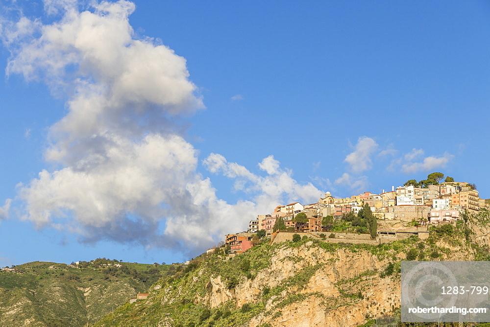View from Madonna della Rocca church to the village Castelmola, Taormina, Sicily, Italy, Europe