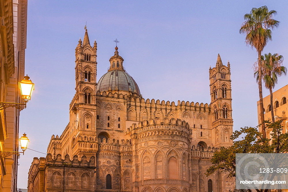 The Palermo Cathedral (UNESCO World Heritage Site) at dawn, Palermo, Sicily, Italy, Europe