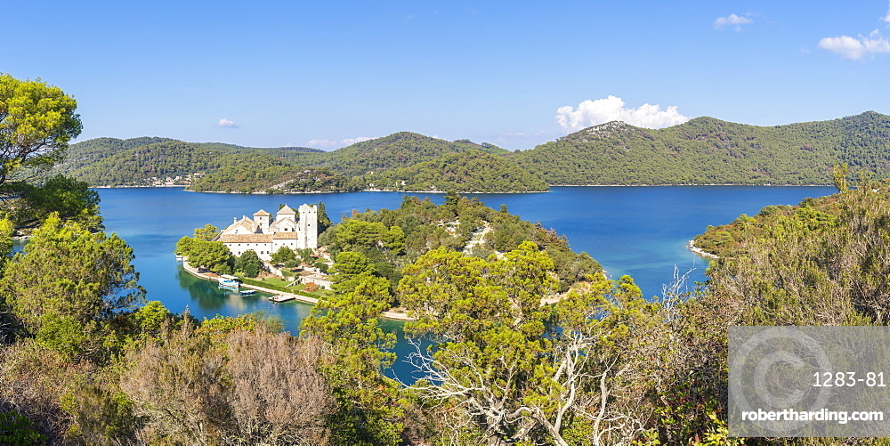 Elevated view over Veliko jezero (Big lake) and the monastery on Saint Mary Island in the Mljet National Park, Croatia, Europe