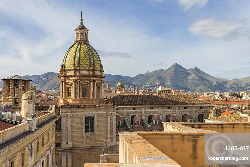 Cupola of the San Giuseppe dei Padri Teatini Church seen from Santa Caterina Church, Palermo, Sicily, Italy, Europe