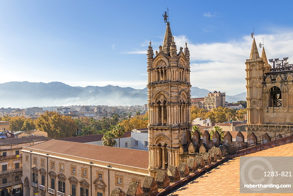 View from the rooftop of the Palermo Cathedral (UNESCO World Heritage Site), Palermo, Sicily, Italy, Europe