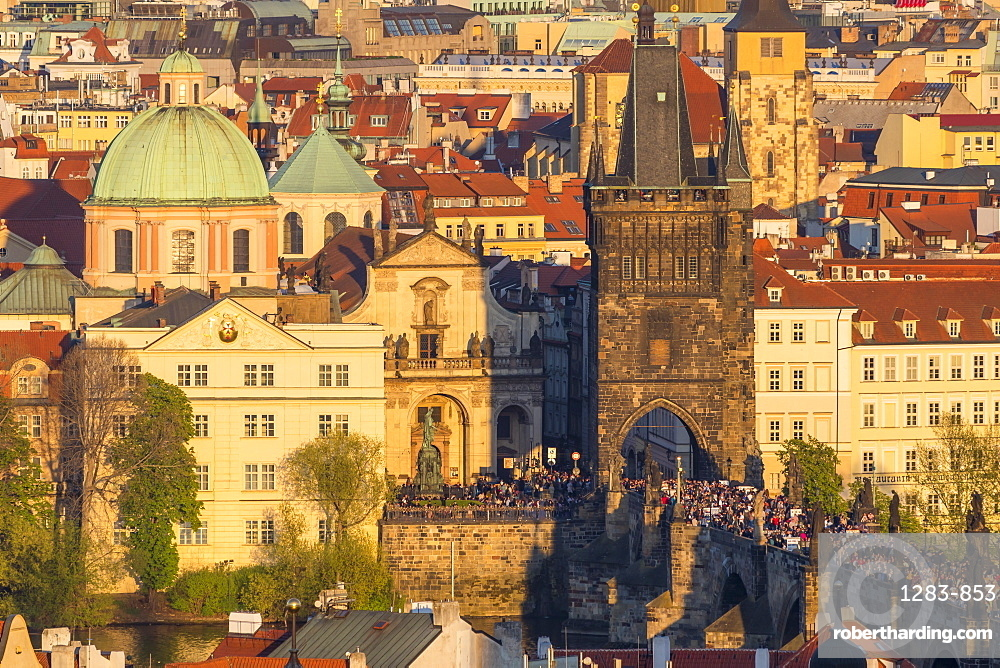 View from the Prague Castle down to the Charles Bridge and the old town at sunset, Prague, Bohemia, Czech Republic, Europe