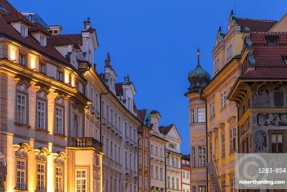 Facades of historical buildings near the old town market square, Prague, Bohemia, Czech Republic, Europe