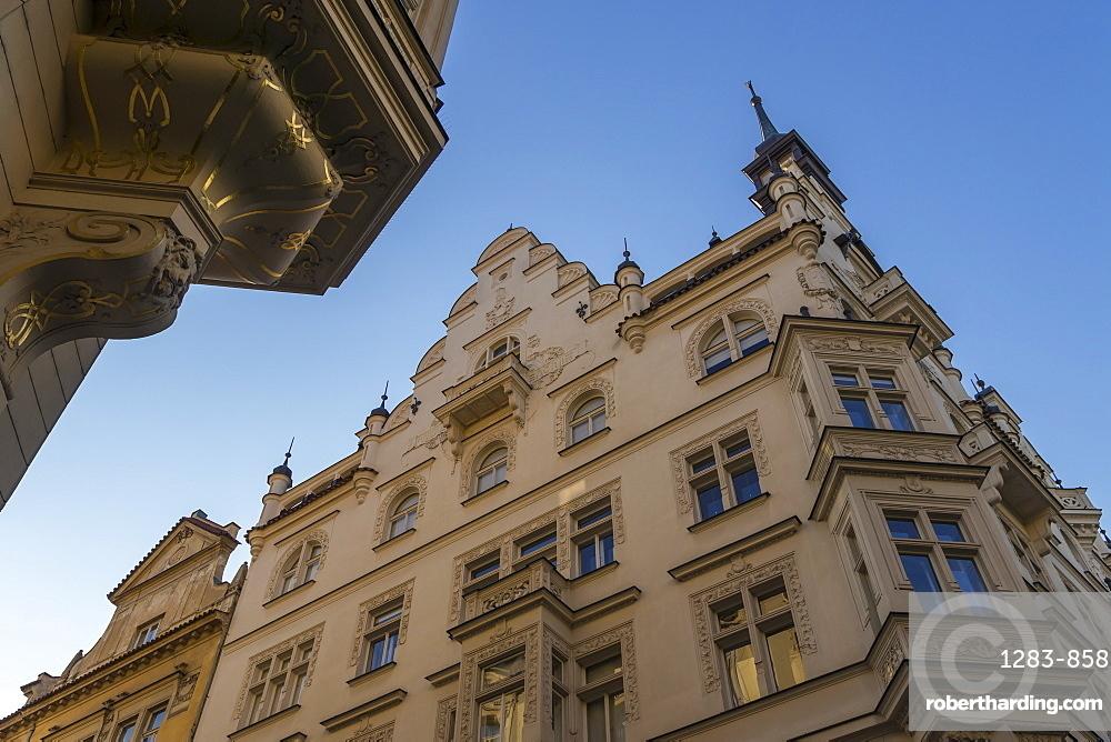 Facade of an art-nouveau building in the Josefov quarter of the old town, Prague, Bohemia, Czech Republic, Europe