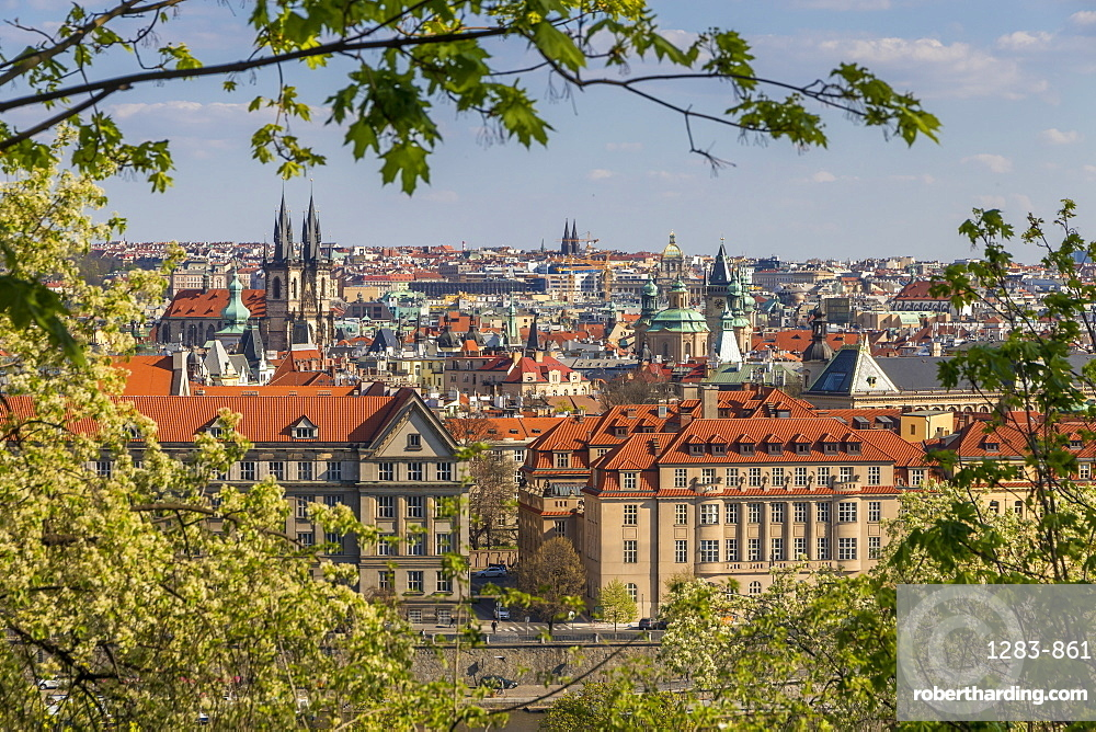 Elevated view from Letna Park over the old town, Prague, Bohemia, Czech Republic, Europe