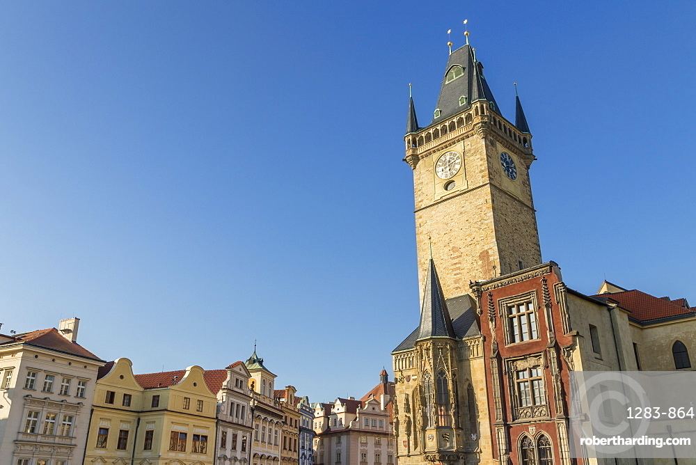 The old town hall seen from the old town market square, Prague, Bohemia, Czech Republic, Europe
