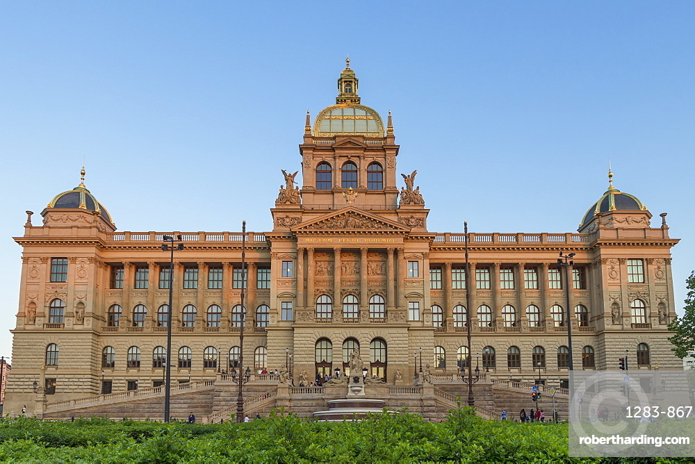 The National Museum (Narodni muzeum) in the New Town District seen from Wenceslas Square, Prague, Bohemia, Czech Republic