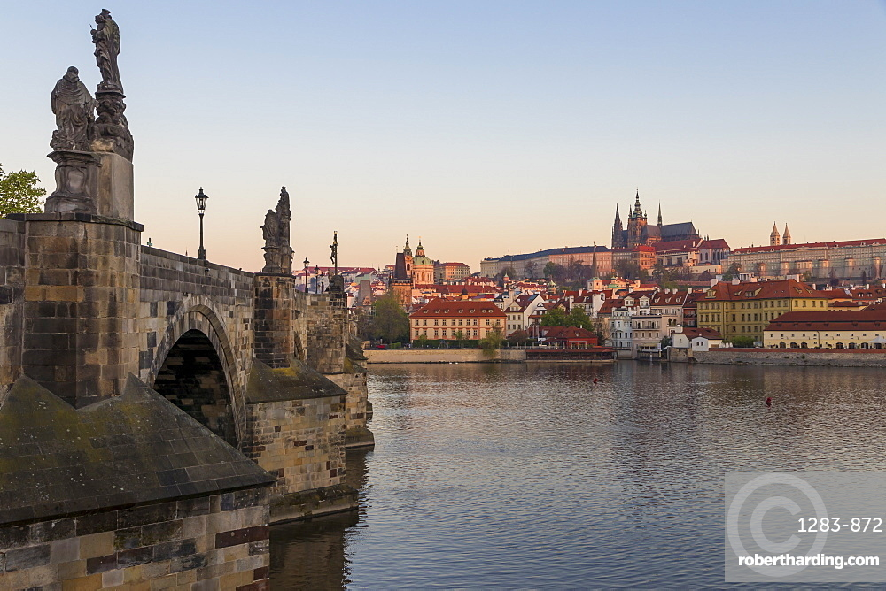 View from Krizovnicke Square to Charles Bridge, Prague Castle and St. Vitus Cathedral, Prague, Bohemia, Czech Republic