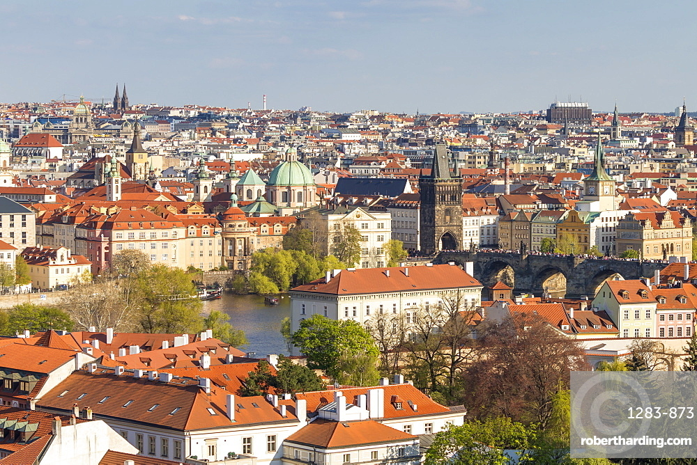 Elevated view from Prague Castle over the Lesser Town, Charles Bridge and the old town, Prague, Bohemia, Czech Republic, Europe