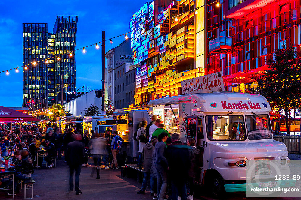 Food truck festival at the Spielbudenplatz near Reeperbahn at dusk