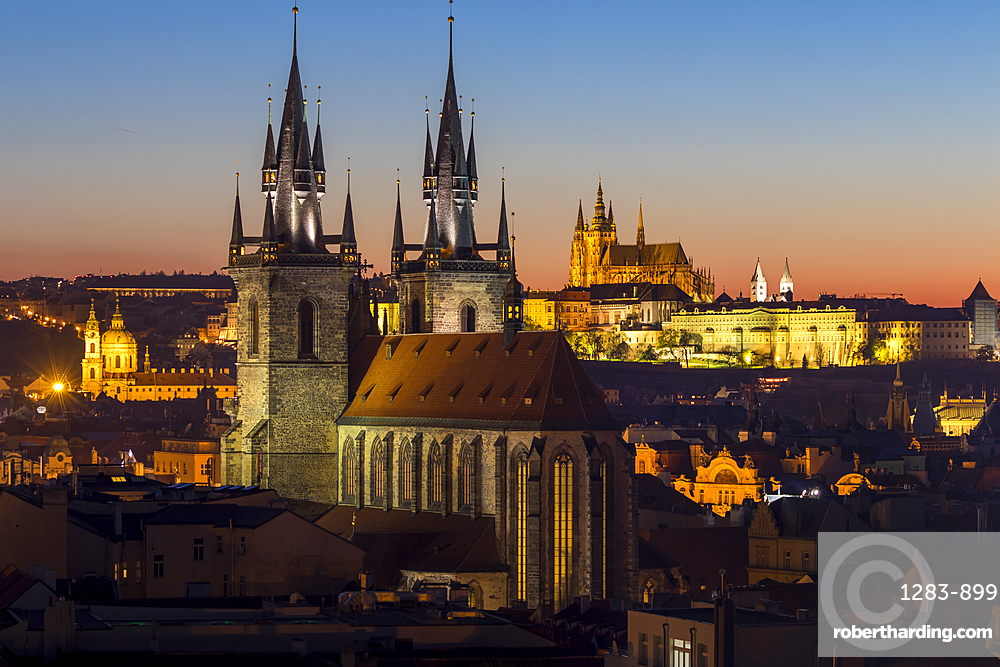View to Our Lady before Tyn Church and Prague Castle at dusk, Prague, Bohemia, Czech Republic