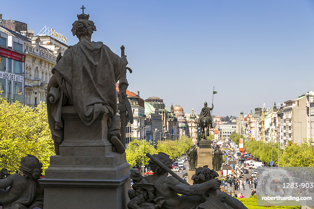 View from the steps of the National Museum over Wenceslas Square (Vaclavske namesti), Prague, Bohemia, Czech Republic, Europe