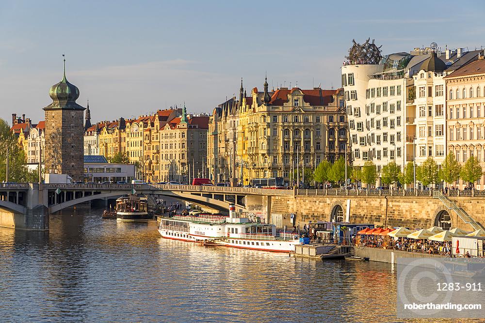 Art Nouveau buildings at Vltava River embankment, Prague, Bohemia, Czech Republic, Europe