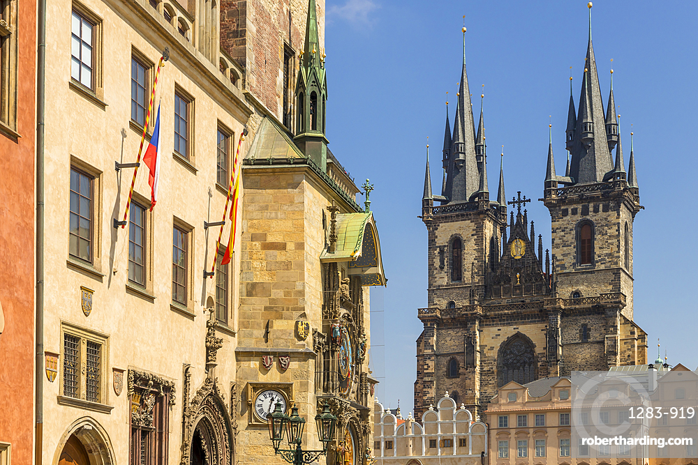 The old town hall with its astronomical clock and Our Lady of Tyn church, Prague, Bohemia, Czech Republic, Europe