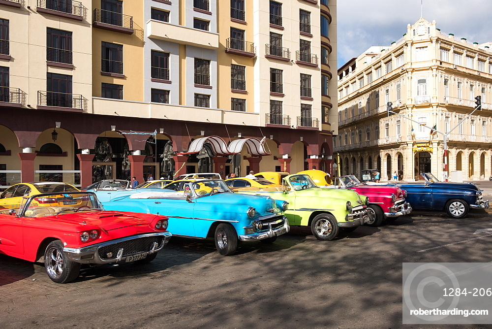 Colourful vintage convertible taxis in Havana, Cuba, West Indies, Caribbean, Central America