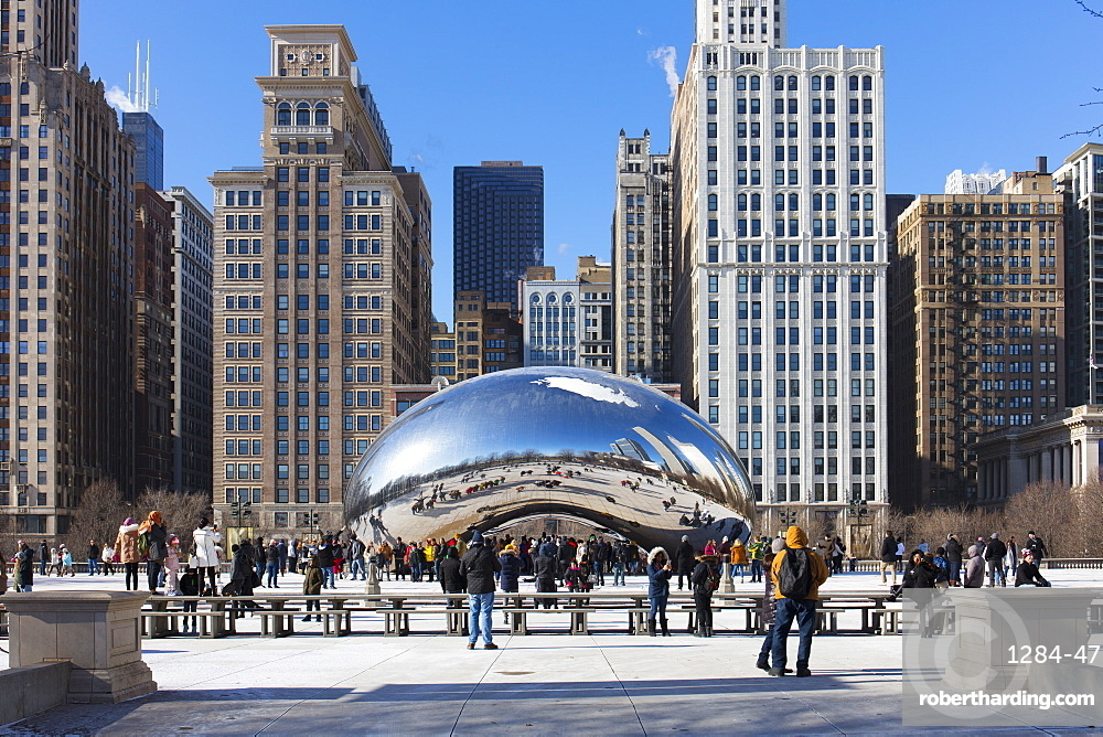 Cloud Gate (The Bean) sculpture on a clear winter's day, Millennium Park, Chicago, Illinois, United States of America, North America