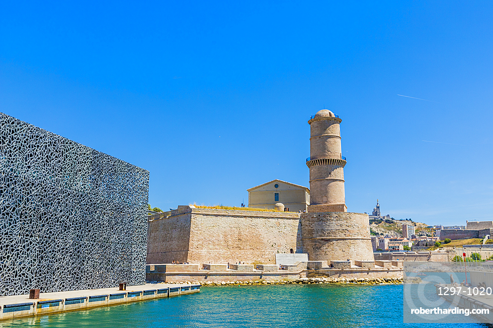 Fort St Jean and MuCEM museum in Marseille, Bouches du Rhone, Provence, Provence Alpes,Cote d'Azur, France,Mediterranean, Europe