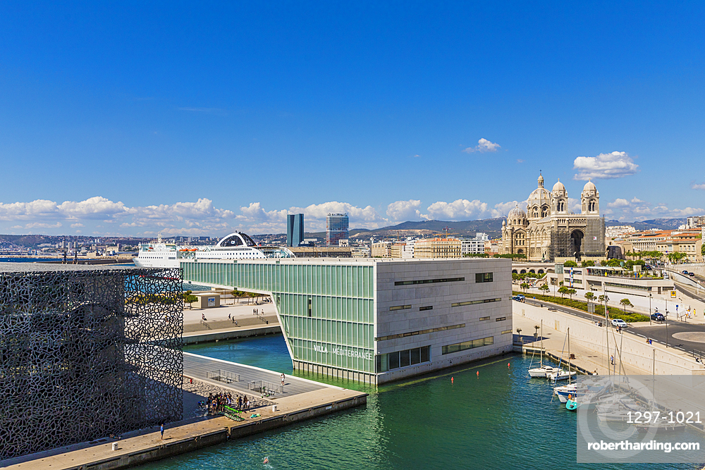 View of Marseille Cathedral, MuCEM and Villa Mediterrane, Provence, Provence Alpes, Cote d'Azur, France, Mediterranean, Europe