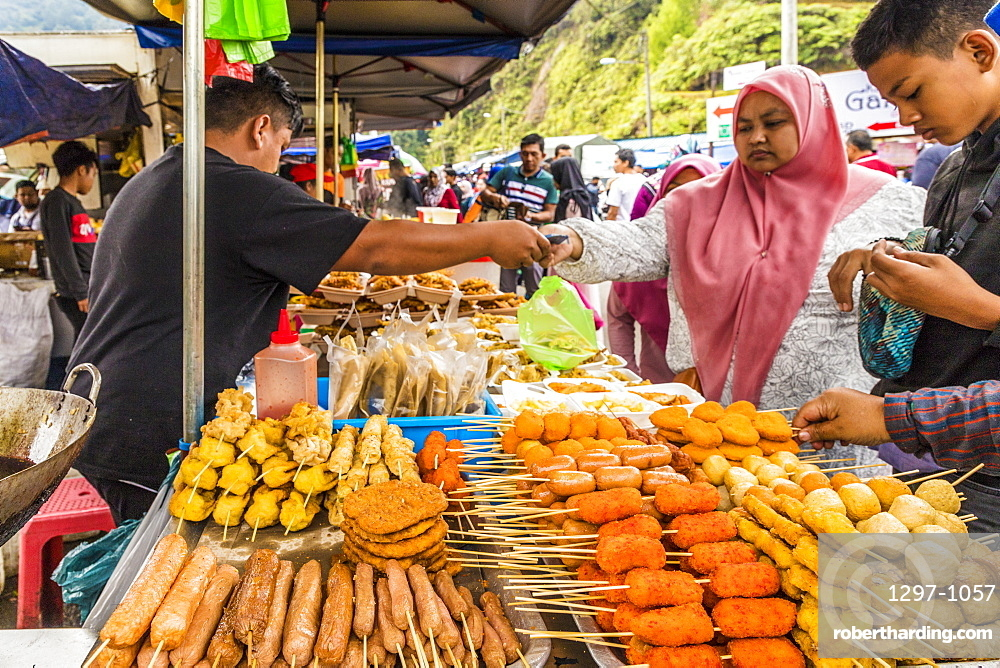Fried food stall in Kea Farm market in Cameron Highlands, Brinchang, Pahang, Malaysia, Southeast Asia, Asia