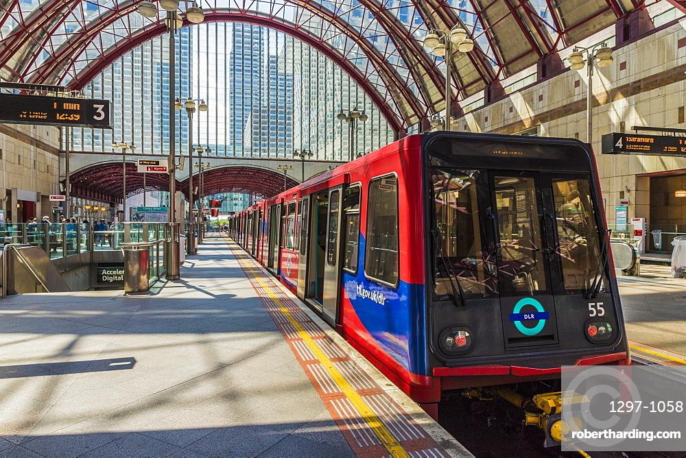Canary Wharf DLR train station in Canary Wharf, Docklands, London, England, United Kingdom, Europe