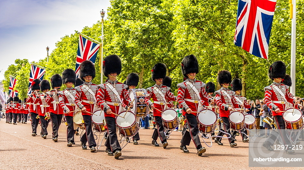 Bandsmen during Trooping the Colour in London, England, United Kingdom, Europe