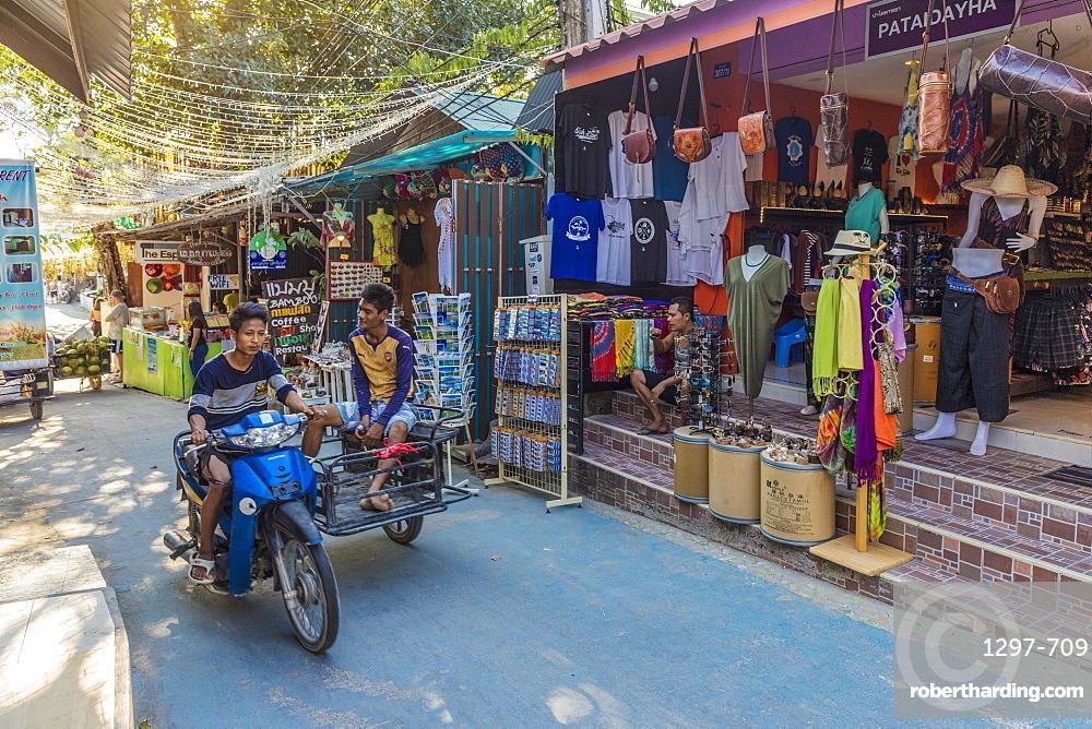 A street scene in Ko Lipe, Tarutao National Marine Park, Thailand, Southeast Asia, Asia.