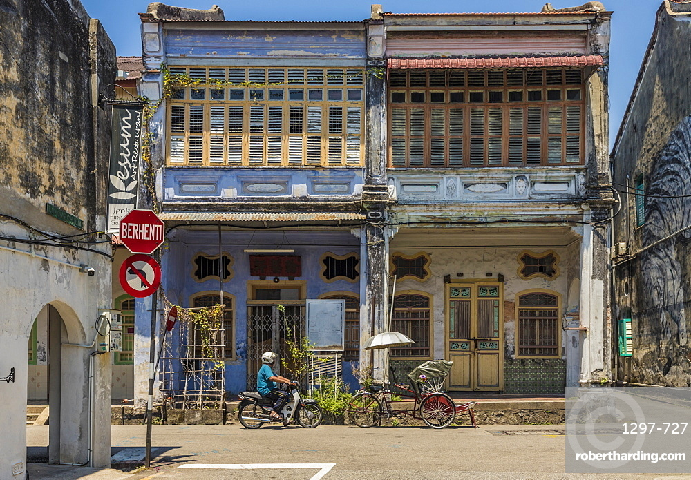 Local Chinese architecture in George Town, Penang Island, Malaysia, Southeast Asia, Asia.