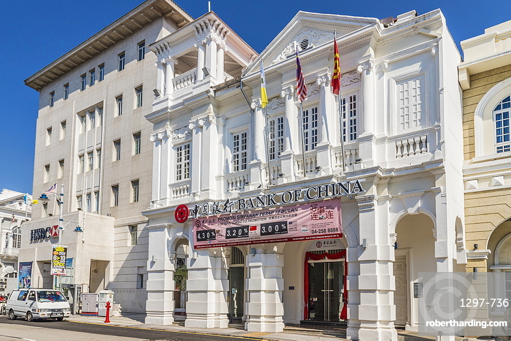 The Bank of China heritage building in George Town, Penang Island, Malaysia, Southeast Asia, Asia.