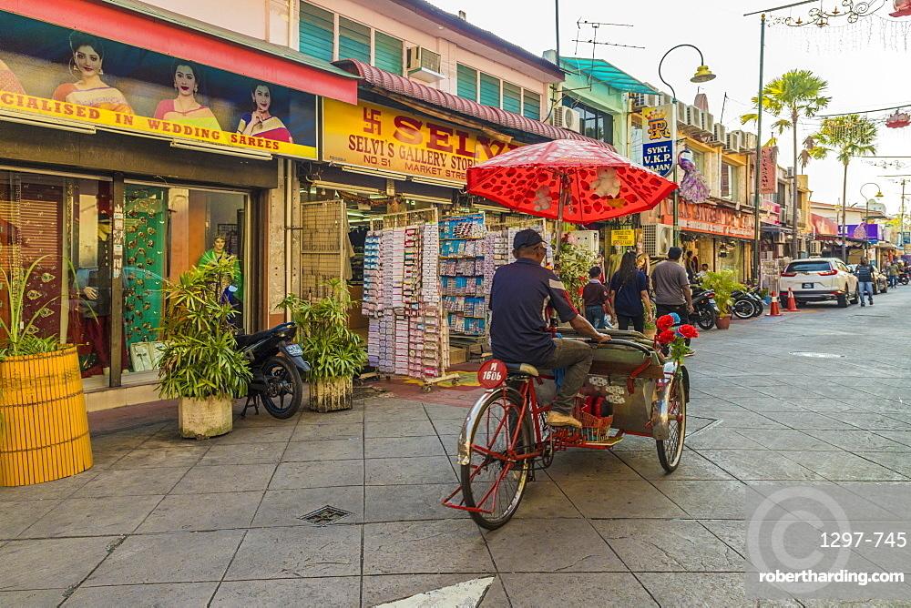 A street scene in Little India, George town, Penang Island, Malaysia, Southeast Asia, Asia.