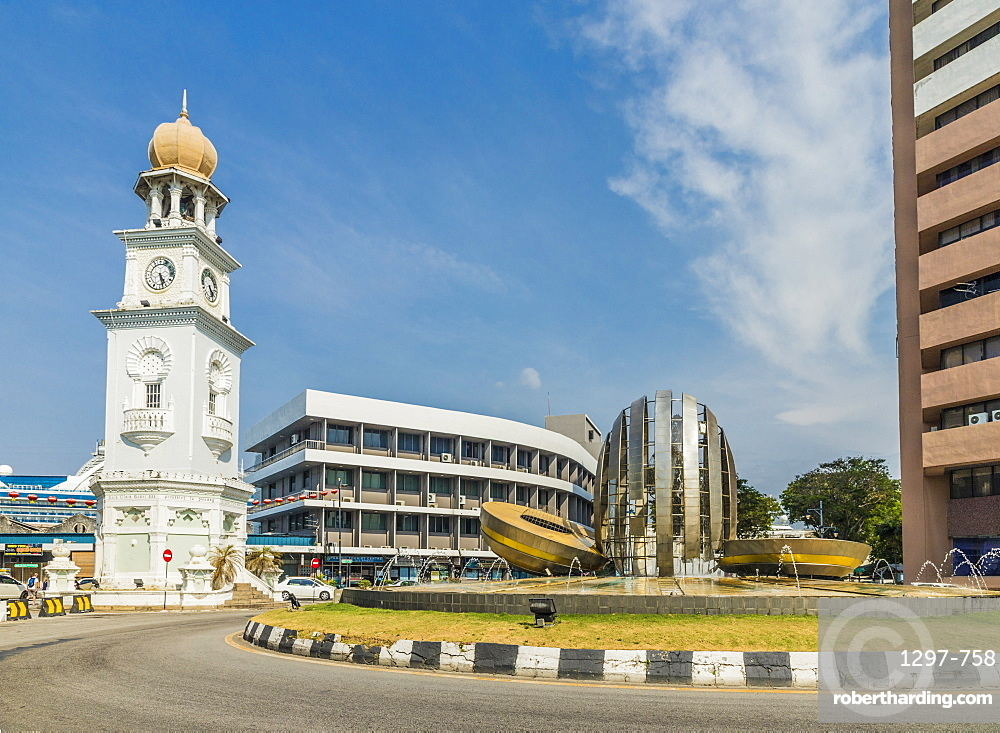 The Queen Victoria Memorial Clock Tower in George Town, Penang Island, Malaysia, Southeast Asia, Asia