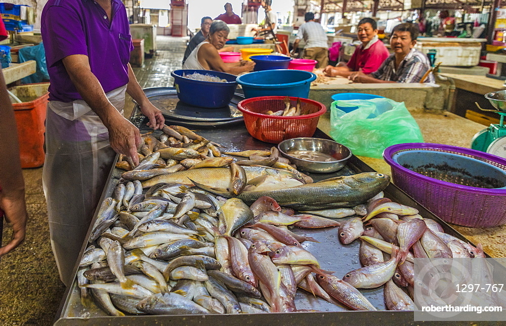 Fish stall in Campbell Street Market within George Town UNESCO World Heritage site in, Penang, Malaysia, Southeast Asia, Asia.