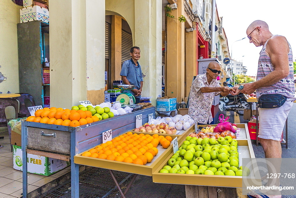 Fruit stall at Campbell Street Market in George Town UNESCO World Heritage site, Penang Island, Malaysia, Southeast Asia, Asia