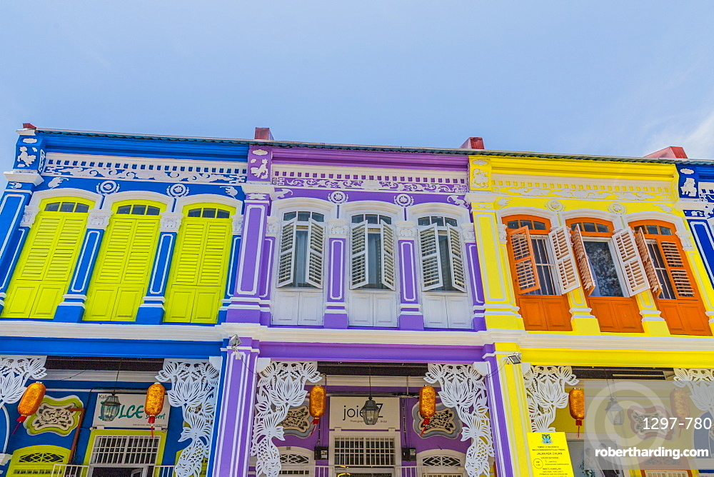 The colourful shop house architecture of Kek Chuan Jalan Road in George Town ,Penang Island, Malaysia, Southeast Asia, Asia.