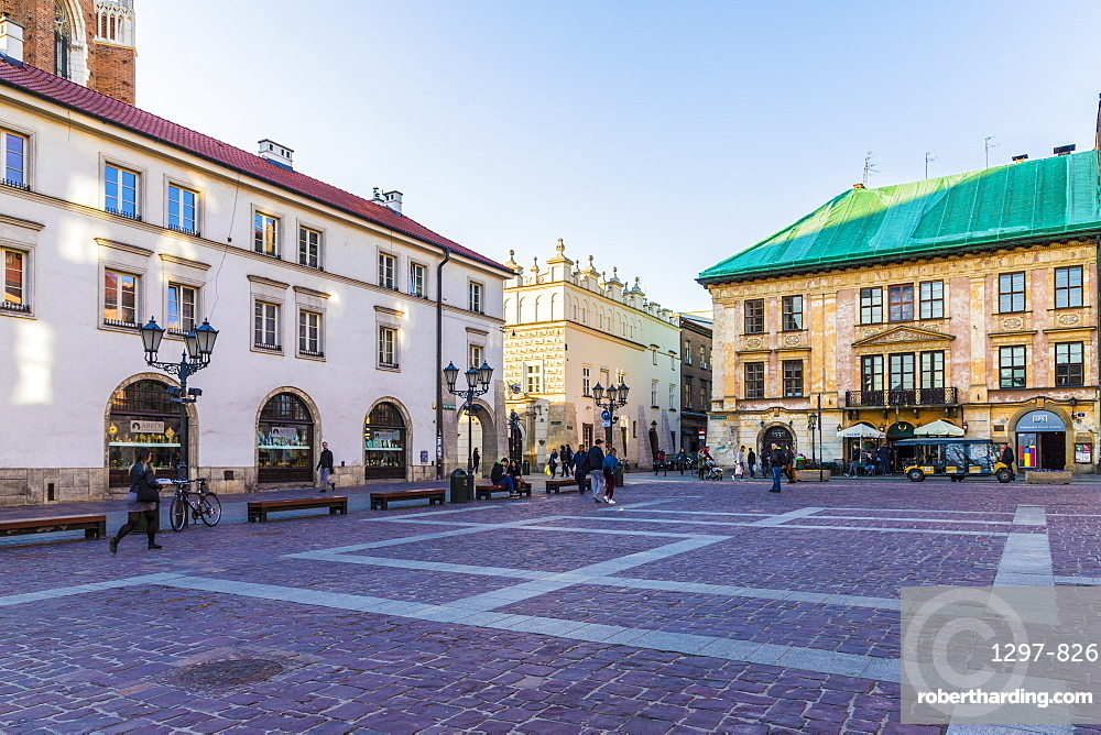 Little Market Square, Maly Rynek, in the medieval old town a UNESCO World Heritage site, in Krakow, Poland, Europe.