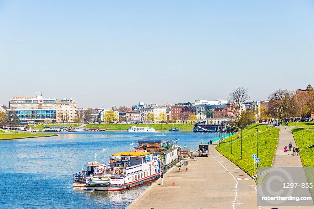 The Vistula River in Krakow, Poland, Europe.