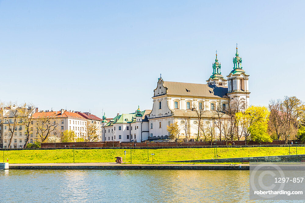 View of the Church of St Michael the Archangel, Skalka Church and the Vistula River in Krakow, Poland, Europe.