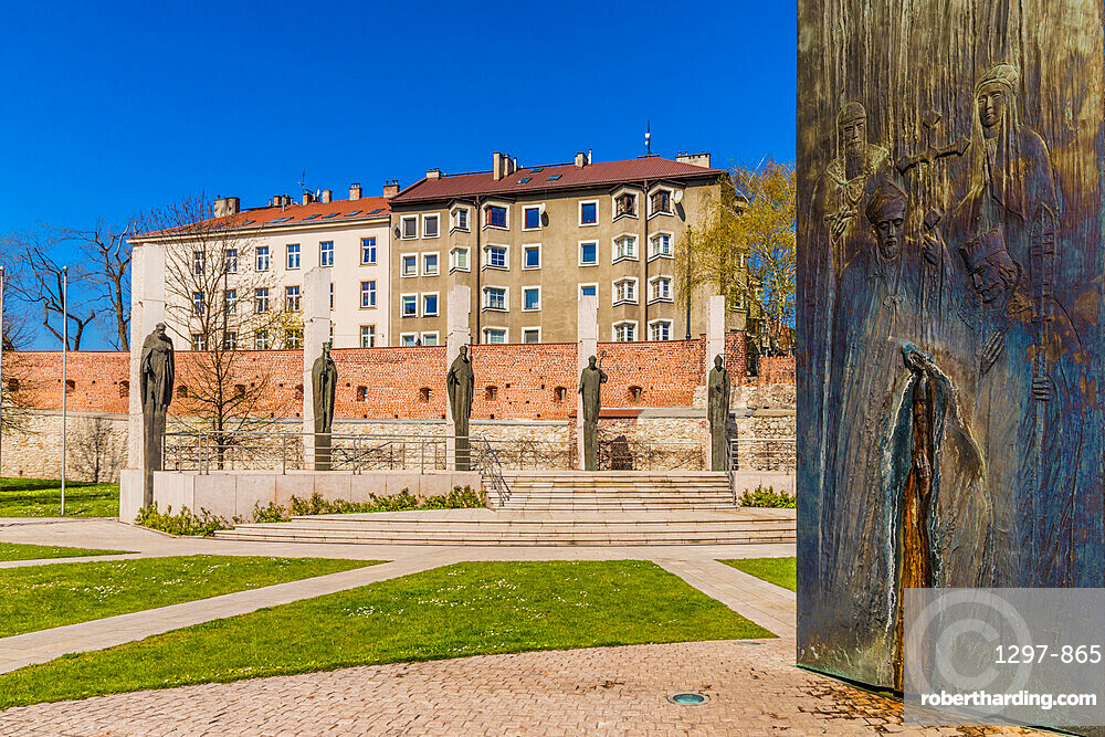 Monuments at the Three Millennia Altar at Skalka Church and the Pauline Monastery in Krakow, Poland, Europe.