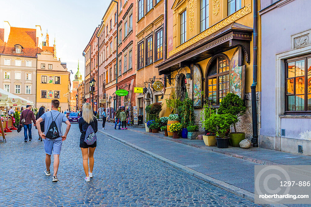 A restaurant in the colourful Old Town Market Place Square in the old town,a UNESCO World Heritage site in Warsaw, Poland Europe