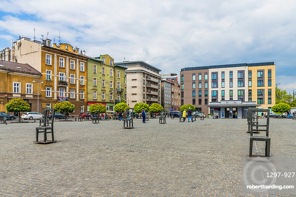 Heroes Square in the former historical Jewish ghetto in Podgorze, Krakow, Poland, Europe.