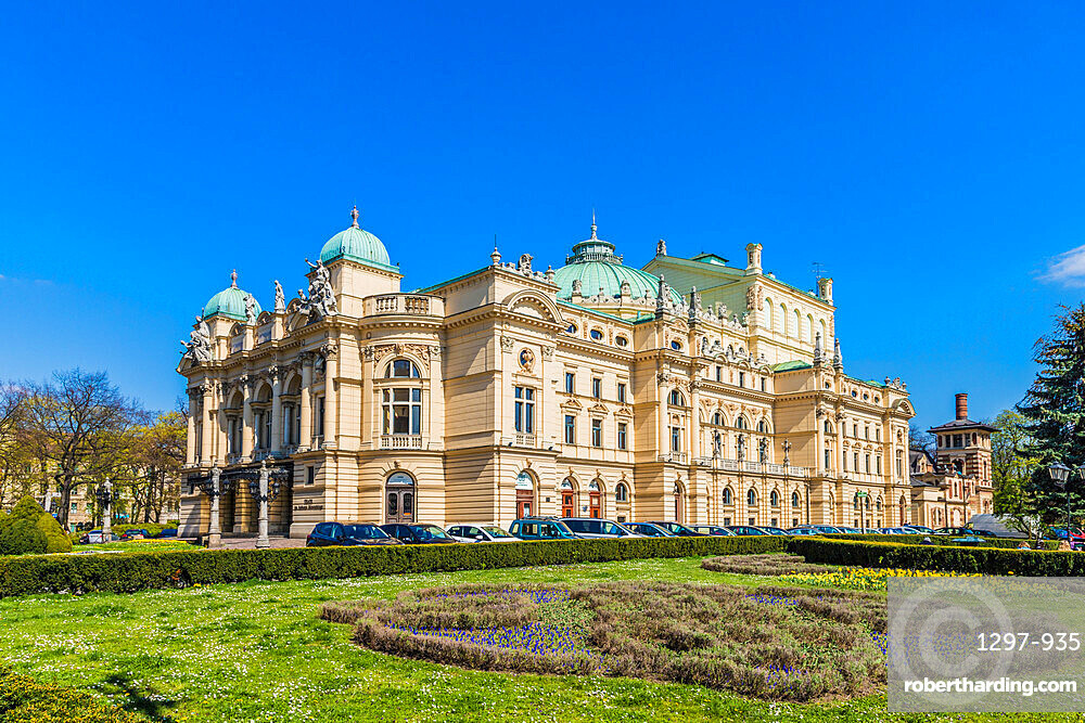 The Juliusz Slowacki Theatre in the medieval old town, a UNESCO World Heritage site, in Krakow, Poland, Europe