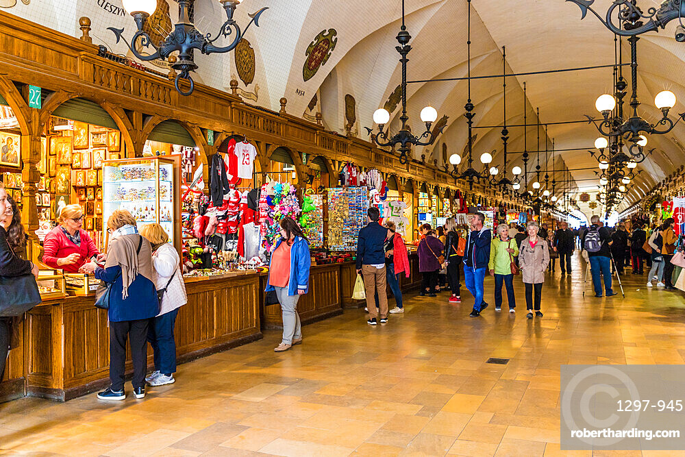 The market hall in Cloth Hall in the medieval old town, a UNESCO World site, in Krakow, Poland, Europe