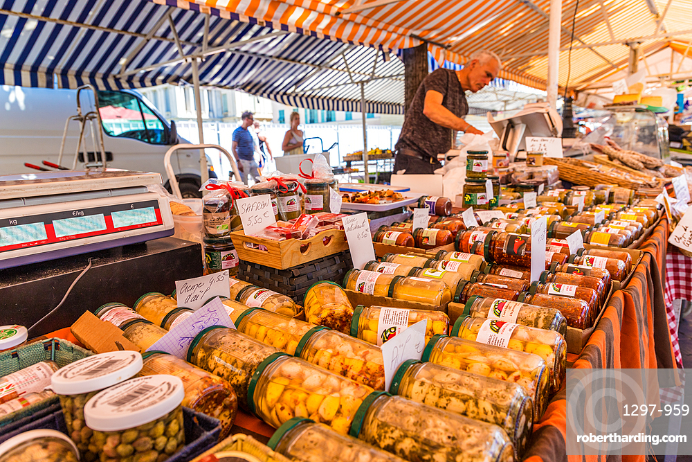 Local goods for sale at Cours Saleya Market, Old Town , Nice, Alpes Maritimes, Cote d'Azur, French Riviera, Provence, France, Mediterranean, Europe